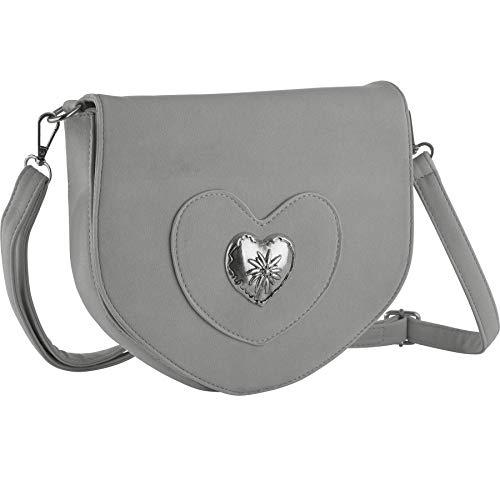dressforfun 900650 Damen Trachten Handtasche mit Herz Motiv, Schicke Trachtenhandtasche in Wildlederoptik (Grau | Nr. 303261)