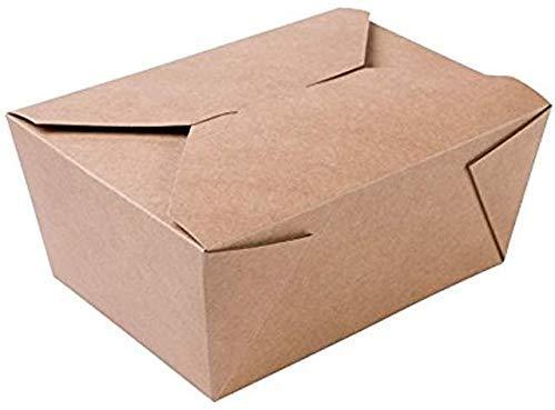Einwegbehälter aus Kraftpapier zum Mitnehmen - 50 biologisch abbaubare, warme und kalte Lebensmittelbehälter zum Mitnehmen - 13 x 10.6 x 6.7 cm