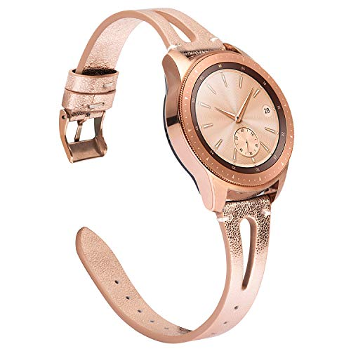 TOYOUTHS Leather Bands Compatible with Samsung Galaxy Watch 42mm/Galaxy Active 2 40mm 44mm/Galaxy Watch 3 41mm Strap Women Men Wristband Replacement for Gear S2 Classic/Gear Sport 20mm (Rose Gold)