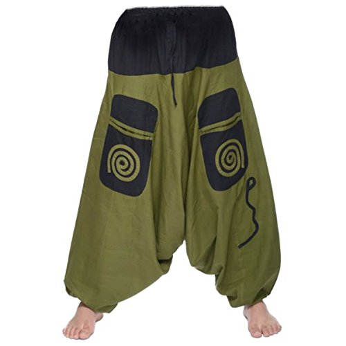 Simandra Aladinhose Freizeithose Haremshose Herren (Grün-schwarz, L/XL)