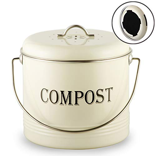 %8 OFF! 1.3 Gal Compost Bin for Kitchen Countertop With 7 BONUS Charcoal Filters - Vintage Indoor Sc...