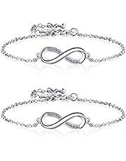 2 Pièces Bracelets Infini en Argent Bracelets d'Amitié Réglables pour Femme Fille Noël la Saint-Valentin