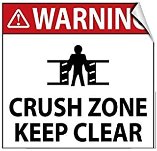 EvelynDavid Warning Crush Zone Keep Clear Hazard Warning Safety Label Decal Sticker 12 in x 12 in