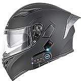 Bluetooth Helmet Motorcycle Double Lens Integrated Flip Up Full Face Visor...