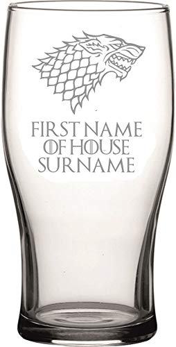 Lapal Dimension (individuell, personalisierbares Bierglas, Motiv: House Stark Game of Thrones