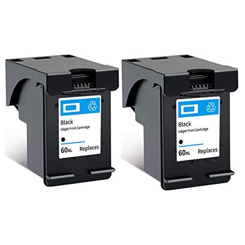 Cartucho de tinta 60XL, repuesto de alto rendimiento para impresoras HP Deskjet F4280 F2410 F4480 PhotoSmart C4600 C4780 ENVY 100 110, negro y tricolor 2 negro
