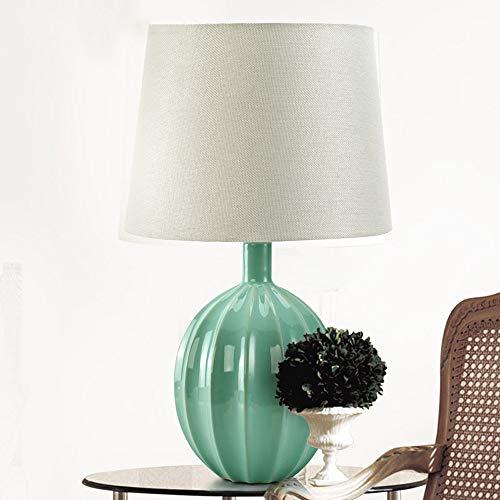 Gymqian Lámpara de Mesa de Dormitorio de la Lámpara de Cerámica Lámpara de Cabecera de la Sala Creativa Lámpara de Luz Azul E27 lámpara de mesa de tela blanca