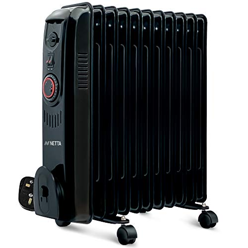 NETTA Oil Filled Radiator 2500W Portable Electric Heater with Thermostat & 24 Hour Timer 2 Power Settings Home Office Energy Efficiency – 11 Fin, Black