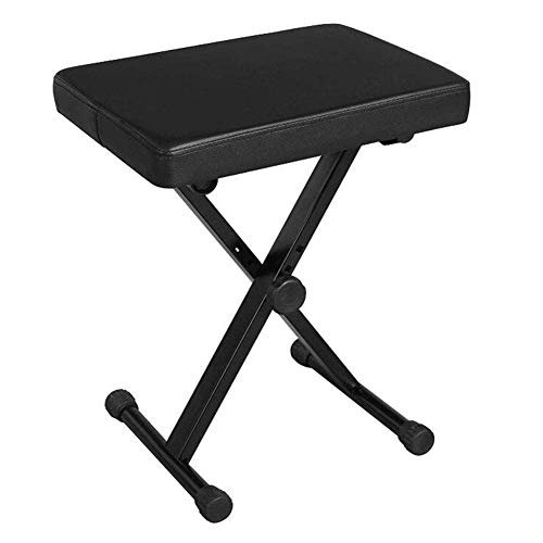 SGSG Panca per Tastiera Regolabile, Tastiera Pieghevole per Panca per Pianoforte in Metallo con Seduta Imbottita in Stile X.