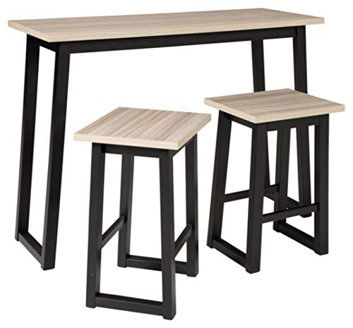 Signature Design by Ashley Waylowe Counter Height Table Set, Black/Tan