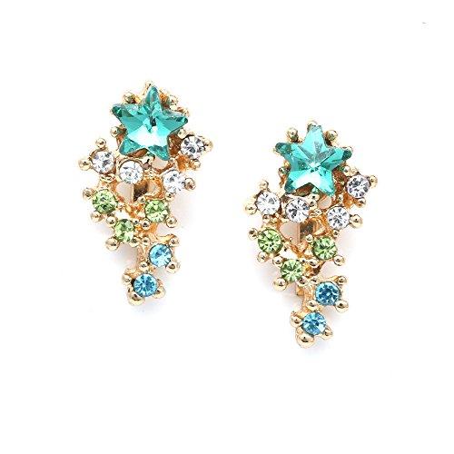 Idin Jewellery - orecchini a clip con stella turchese e cascata di cristalli