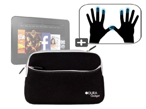 """DURAGADGET Housse étui résistant en néoprène Noir + Gants capacitifs conducteurs Taille S (Petit) pour Nouvelle Tablette Kindle Fire 7"""" et Fire HD d'A"""