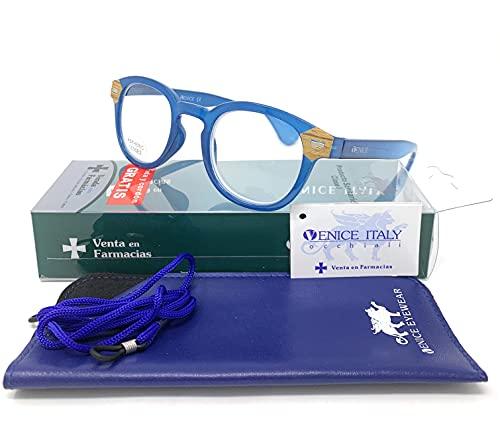 Gafas de lectura, presbicia, vista cansada, Diseño en 3 Colores. VENICE HAMBURG - Dioptrías: 1 a 3,5 (Azul, +3,50)