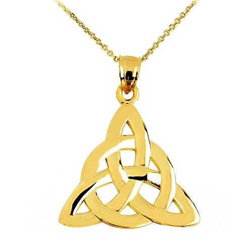 14k Yellow Gold Traditional Celtic Trinity Knot Pendant Necklace, 16'