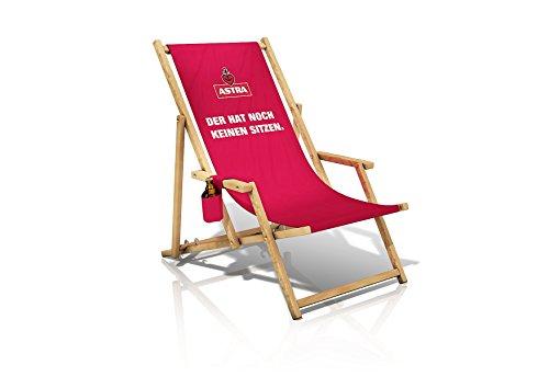 ASTRA Liegestuhl mit Armlehnen & Flaschenhalterung, Gartenstuhl, klappbare Sonnenliege, Bier für die Entspannung DER HAT NOCH KEINEN SITZEN