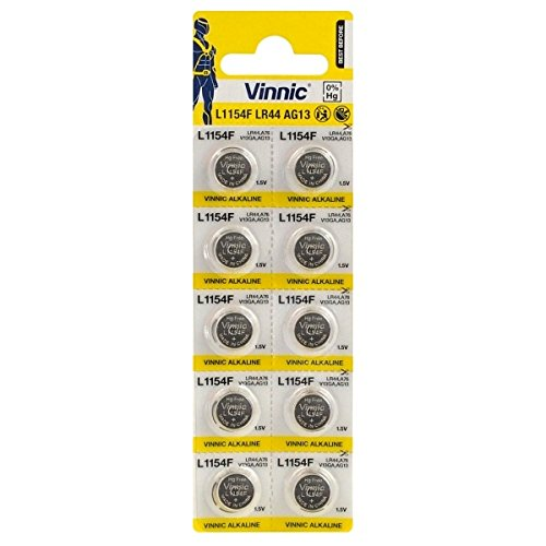 Juego de 100pilas Vinnic AG13LR44L1154F alcalina 1,5V