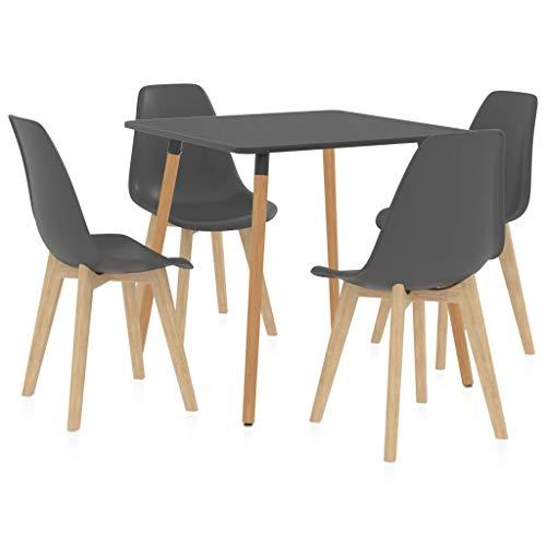 vidaXL Essgruppe 5-TLG. Esszimmergarnitur Esszimmergruppe Tischset Esstischset Sitzgruppe Küchentisch Esszimmertisch Esstisch mit 4 Stühlen Grau