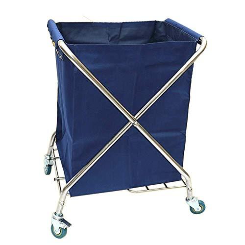 YLXBH Hochleistungsfaltwagen, fahrbarer Wäschekorb-Sortierer mit Abnehmbarer Tasche, Handelshotel-Laufkatze (Farbe: Blau)