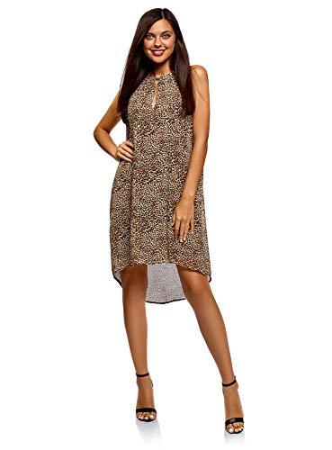 oodji Ultra Damen Kleid aus Fließendem Stoff mit Dekorativer Kette, Beige, DE 42 / EU 44 / XL