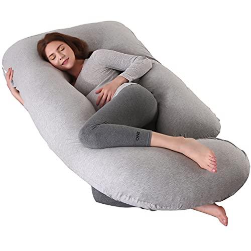 ARNTY Almohada Embarazada Dormir,Gran Almohada para Embarazada Multifuncional Completo en Forma de U para Cabeza,Espalda,Caderas,Piernas y Vientre para Adultos (Gris Claro)