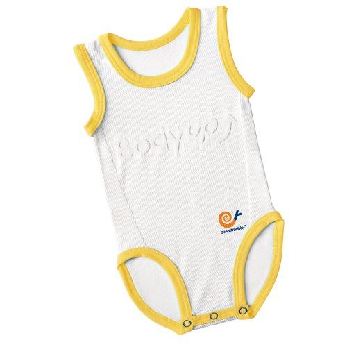 Mebby Body pour Bébé Évolutif Léger sans Manche - Jaune et Blanc - 0 à 3 ans