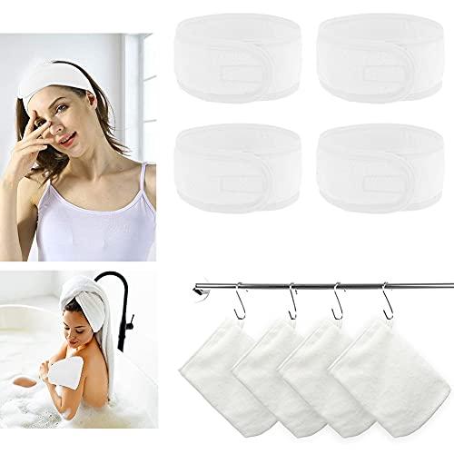 6 guanti esfolianti riutilizzabili in microfibra per il lavaggio del corpo e 4 pezzi,...