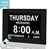Digital Calendar Alarm Day Clock, 8' Large Screen Display, with 5 Alarm Options, AM/PM Function, for Impaired Vision People, Age Seniors, The Dementia, for Desk, Wall Mounted, with Remote Control