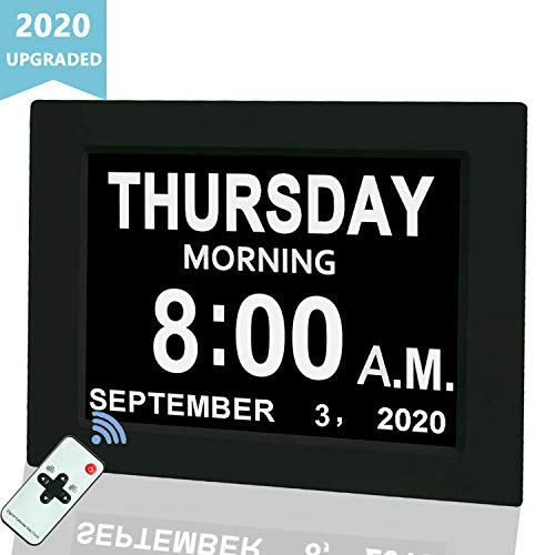 "Digital Calendar Alarm Day Clock, 8"" Large Screen Display, with 5 Alarm Options, AM/PM Function, for Impaired Vision People, Age Seniors, The Dementia, for Desk, Wall Mounted, with Remote Control"