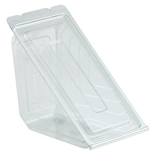 "Sandwich Wedge Packaging Clear Base PET Plastic Hinged - 6 1/2""L x 3""W x 3 1/4""H 250 Per Roll"