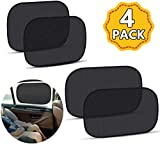 KUGEN Car Window Sun Shades 4 Pack, Car Side Window Shield Cover Universal PVC Electrostatic Film Sun Shade Sticker for Glare and UV Rays Protection for Your Child - Car Window Sun Shade for Baby(Black)