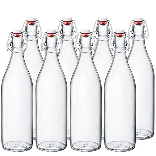 CLear Beer Bottles 16 oz,Encheng Easy Cap Glass Bottle with Stopper,Home Brewing Bottles with Swing Top for Oil,Vinegar,Beverages,Beer,Water,Kefir,Iced Tea,Soda 8 Pack …