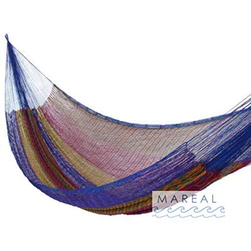 MAREAL Hamaca Hecha a Mano Estilo Maya, Yucatan, Hammock Tejido Fino, Hammock Nylon Tamaño Q 2.40 X 4.00 M (Incluye Cuerdas y Ganchos) Fiesta Mexican