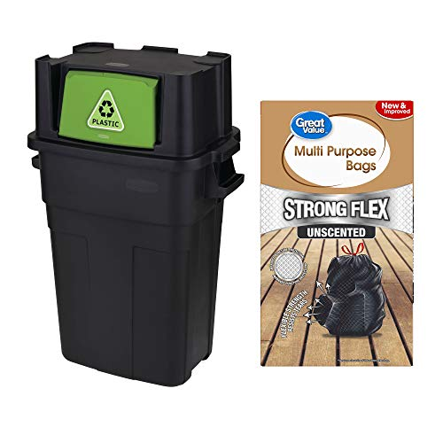 A.T. Products Corp. Rubbermaid 30 Gallon Kitchen & Garbage Recycle Bin Bundle with Strong Flex Multi-Purpose Drawstring Trash Bags 33 Gallon, 25 Count