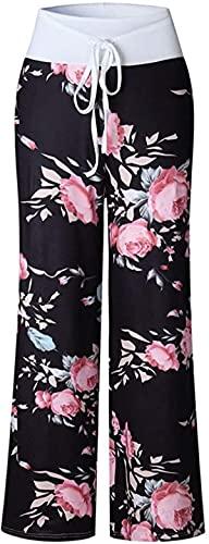BUTERULES Women's Comfy Pajama Pants Floral Print Casual Drawstring Palazzo Wide Leg Lounge Pants High Waist Trousers