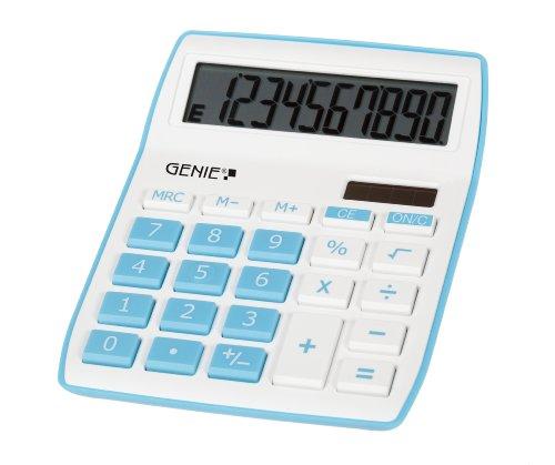 Genie 840 DR 10-cijferige rekenmachine, Dual Power (zonne-energie en batterij) Genie 840 B, blauw blauw