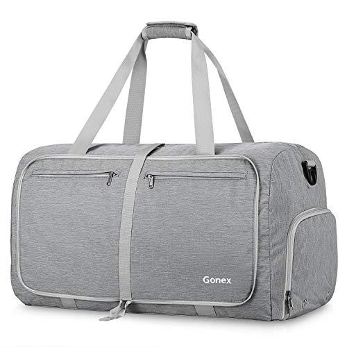 Gonex 65L Travel Duffel Bag Foldable Water Resistant Travel Bag Lightweight Duffel Bag with Big Capacity for Luggage Gym Sports Grey