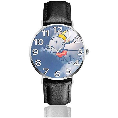 Reloj de Pulsera analógico de Cuarzo Dumbo Fun Encantador, Reloj de Cuero Lindo de Dibujos Animados Unisex