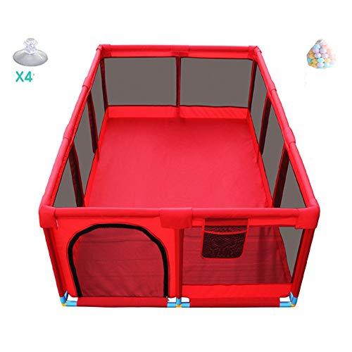 LIANGJUN-Parc bebe Bambin Se Lever Respirant Stable Protection Visibilité Boule en Plastique - 66cm De Haut - 3 Couleurs (Couleur : Rouge, Taille : 128X190X66CM)