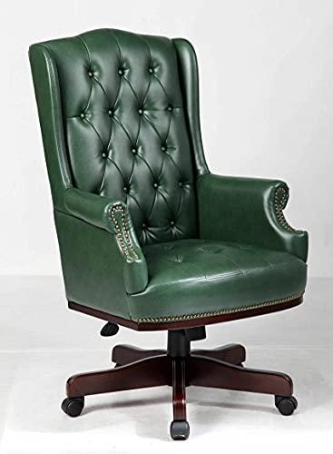 Sillas De Oficina Silla De Oficina De Escritorio con Respaldo Alto Verde Antiguo Cuero Consolidado Cómodo Y Suave