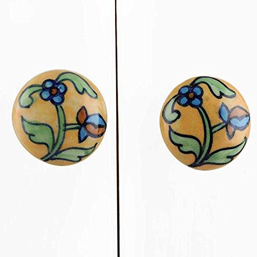 12 piezas de cerámica artesanal Indianshelf floral amarillo largo Saque la bombilla cajón archivador pomos de puertas armario APARADOR Aparador tira de nuevo en línea