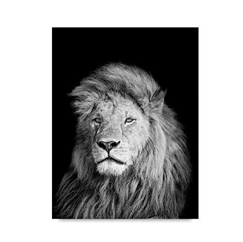 Póster e impresiones habitación de los niños animal negro blanco león elefante ciervo cebra pinturas en lienzo para la sala de estar cuadros de arte de pared 40 × 60 sin marco