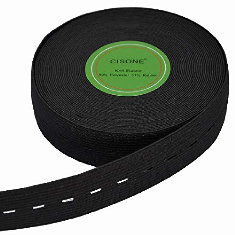 1-Inch Wide Knit Buttonhole Elastic 10 Yard(Black, 1 inch)