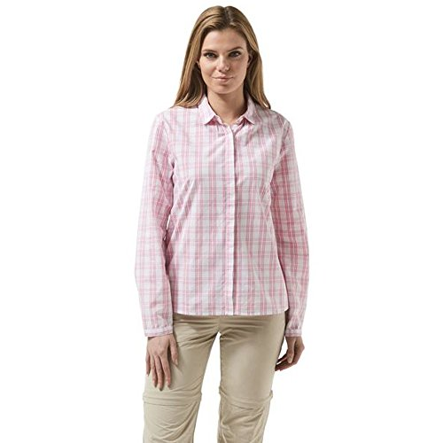 Craghoppers Donna Candelo Maglietta, Donna, Candelo Shirt, English Rose Check, 14