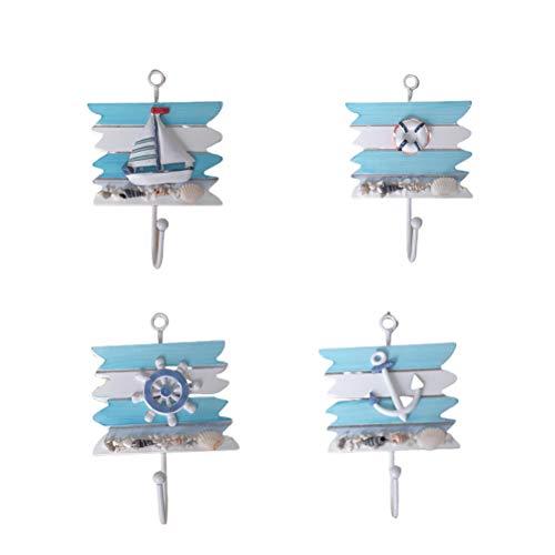 Happyyami 4pcs Türhaken Kleider Haken Handtuchhalter Türhänger Schrankhaken Aufhänger Maritime Dekoration für Küche Bad Schlafzimmer (Blau)