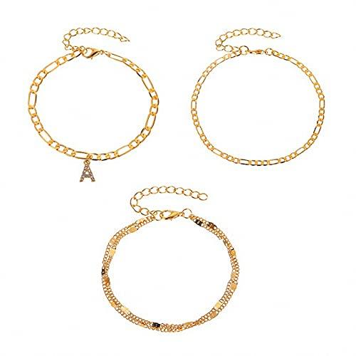 QGGESY Pulseras de Tobillo para Mujer, Juego de Tobilleras en Capas delicadas chapadas en Oro, Regalos de joyería de Verano para Mujeres y niñas Adolescentes,Gold