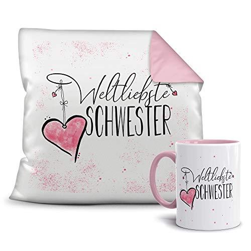 Geschenkset für die Weltbeste Schwester - Tasse und Kissen - Altrosa/Verwandte/Geschenk-Idee/Liebling/Familie