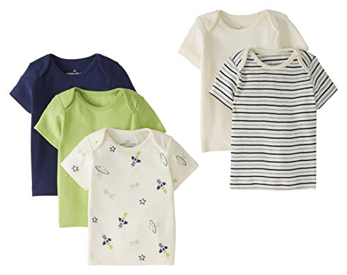 Moon and Back by Hanna Andersson 5 Pack Lap Neck Crew Tee T-Shirt Set, Marineblau, 6-12 Months, 5er-Pack