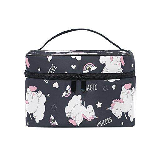 Make-up Tasche mit Panda-Muster in Schwarz und weiß, Kulturbeutel mit Griff und Fächern für die Aufbewahrung Kosmetik, für Reisen geeignet, ideal für Teenager, Mädchen, Jungen und Damen Einhorn