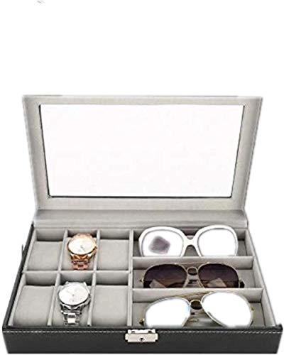 Caja, bandeja de pantalla de anillos, caja de almacenamiento, caja de regalo, bolas de almacenamiento Pantalla de estuche Pendiente Organizador Showcase6 + 3 Gafas de cuadrícula Reloj Caja de almacena