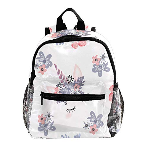Kids Backpacks,Cute Lightweight Resistant Preschool Backpack for Boys and Girls Chest Strap White Unicon with Flowers